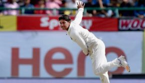 India's Kuldeep Yadav in action against Australia