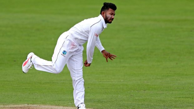 Devendra Bishoo of West Indies bowls during day two of the tour match between Kent and West Indies