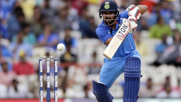 Indian cricket player Kedar Jadhav bats during the first one-day international