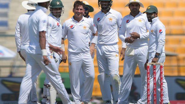 asir Shah of Pakistan celebrates taking the wicket of Lahiru Thirimanne