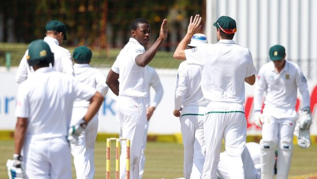 South African bowler Kagiso Rabada celebrates the dismissal of Bangladesh batsman Mushfiqur Rahim