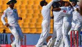Rangana Herath celebrates after dismissing Pakistan's Hasan Ali