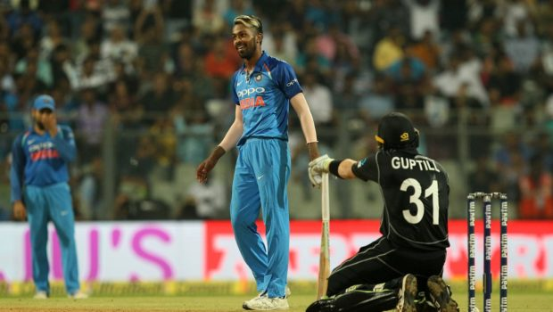 Hardik Pandya of India reacts during the 1st One Day International match between India and New Zealand
