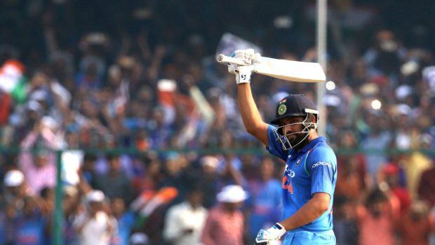 Rohit Sharma raises bat