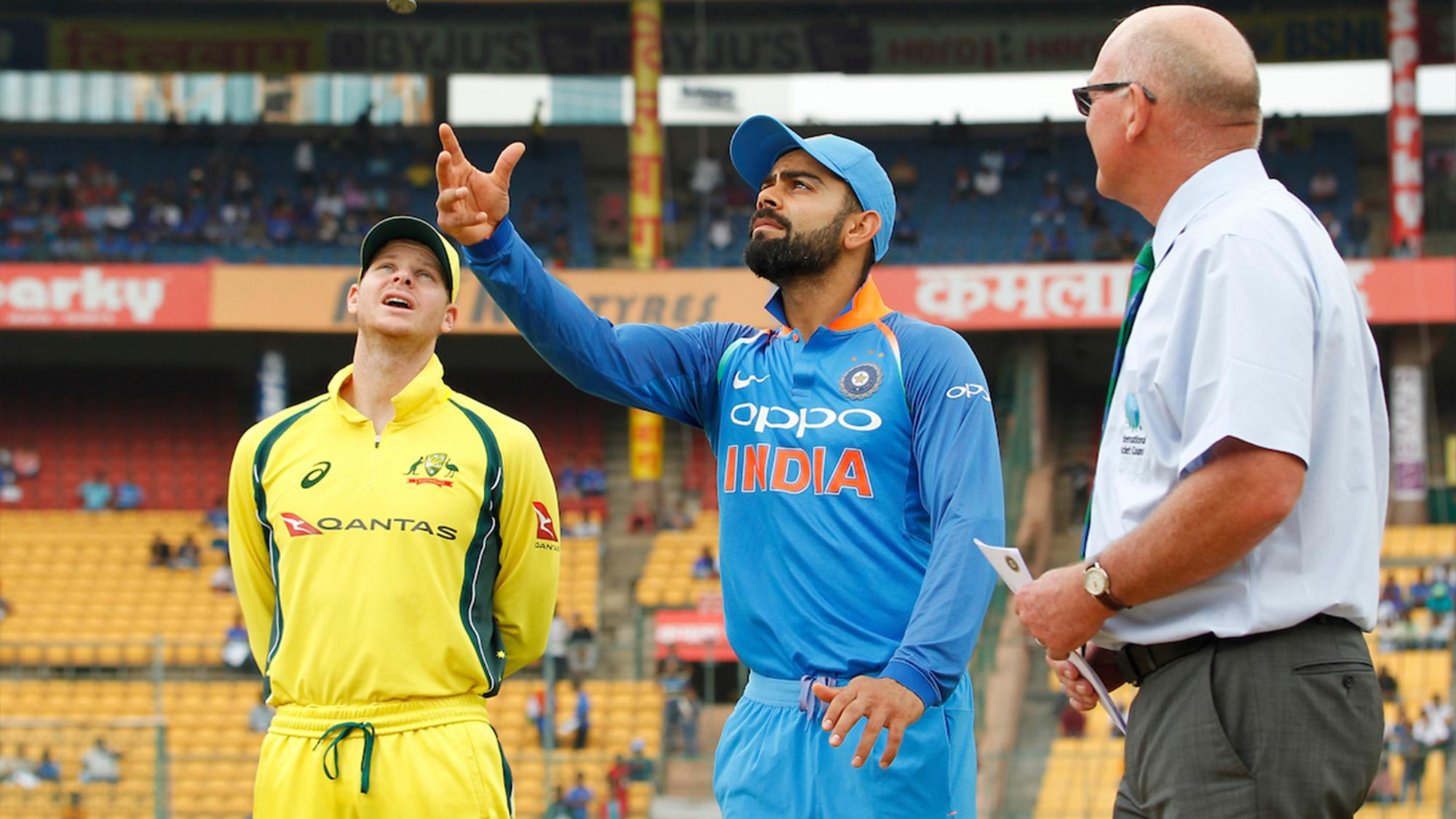 Australian cricketer Hilton Cartwright loose his wicket to India's Jaspreet Bumrah