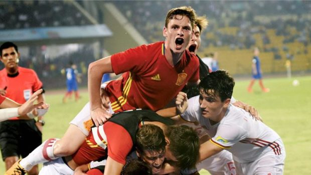 Spanish players celebrate after scoring a goal against France during their FIFA U 17 World Cup 2017