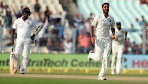 Bhuvneshwar Kumar of India celebrates wicket of Lahiru Thirimanne of Sri Lanka