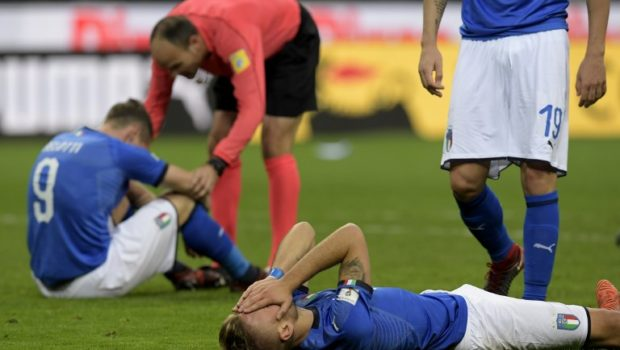 Italy's forward Ciro Immobile reacts at the end of the FIFA World Cup 2018 qualification
