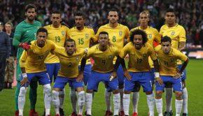 Brazil's goalkeeper Alisson, Brazil's defender Marquinhos
