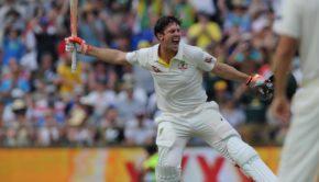 Mitchell Marsh celebrating Test hundred