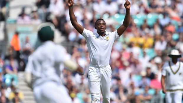 South Africa's Kagiso Rabada celebrates taking the wicket of England's Keaton Jennings