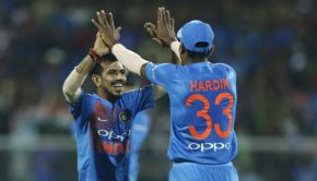 Yuzvendra Chahal of India and Hardik Pandya of India celebrates the wicket