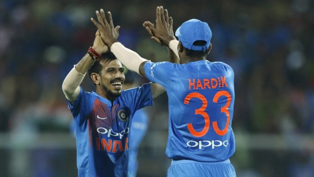 Yuzvendra Chahal of India and Hardik Pandya of India celebrates the wicket
