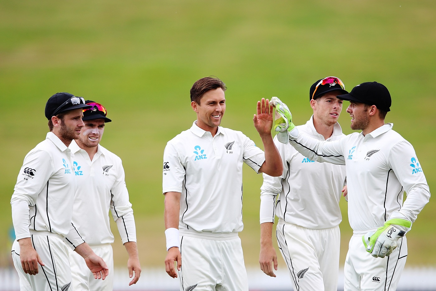 Trent Boult of New Zealand celebrates the wicket of Miguel Cummins