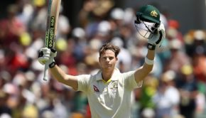 Steve Smith of Australia celebrates after reaching his century