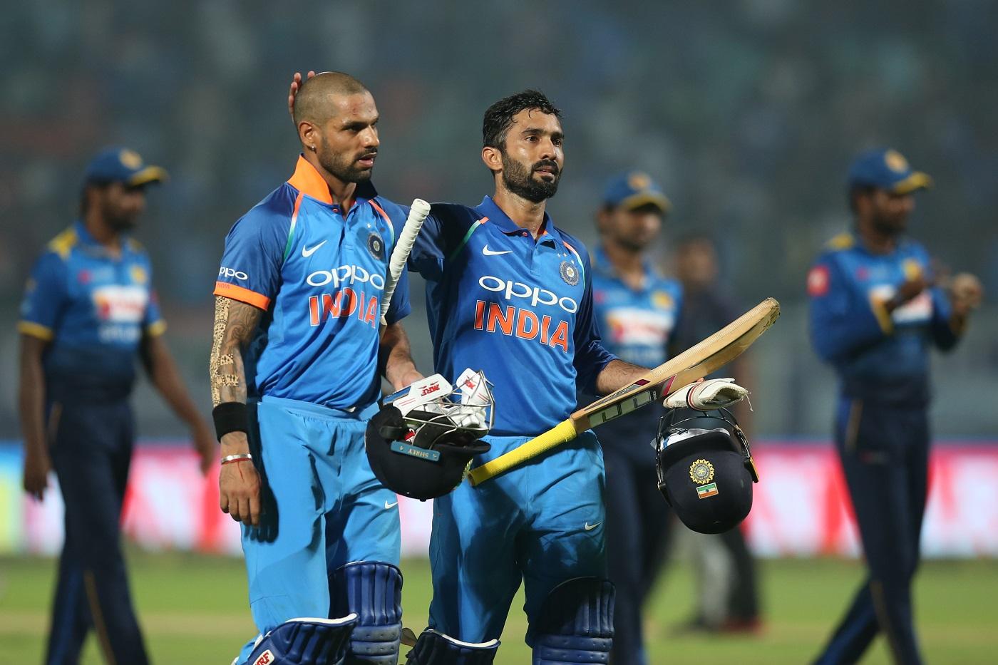 Shikhar Dhawan of India and Dinesh Karthik of India celebrates win