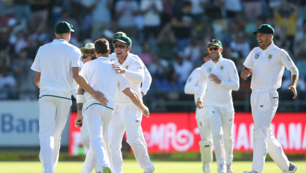 South Africa players celebrating after wicket