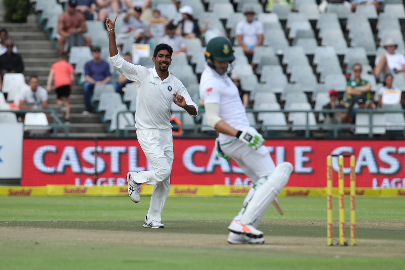 Jasprit Bumra of India celebrates the the wicket of Faf du Plessis(c) of South Africa