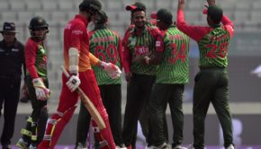 Bangladeshi players congratulate teammate Shakib Al Hasan
