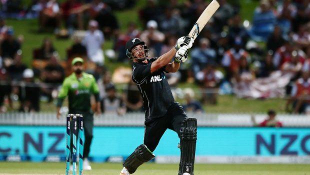 Colin de Grandhomme of New Zealand hits a six