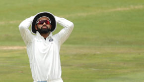 Virat Kohli (captain) of India reacts during the fourth day