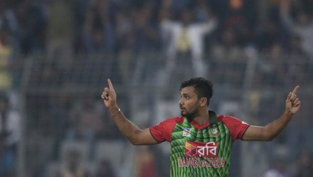Bangladesh's captain Mashrafe Mortaza celebrates the dismissal of Sri Lanka's Kusal Mendis