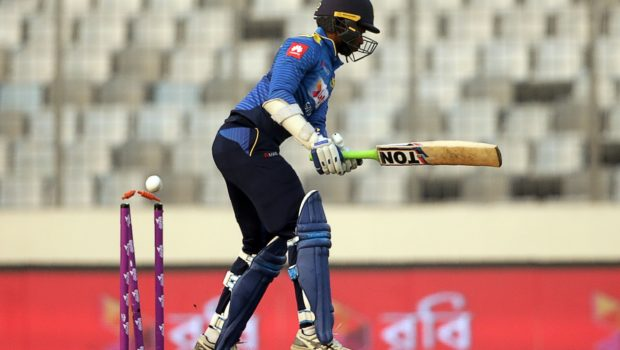 Sri Lankan cricketer Upul Tharanga looks on after being dismissed