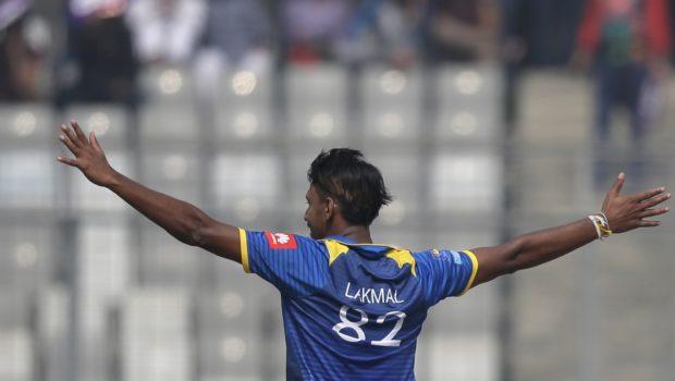 Sri Lanka's Suranga Lakmal celebrates the dismissal of Bangladesh's Tamim Iqbal