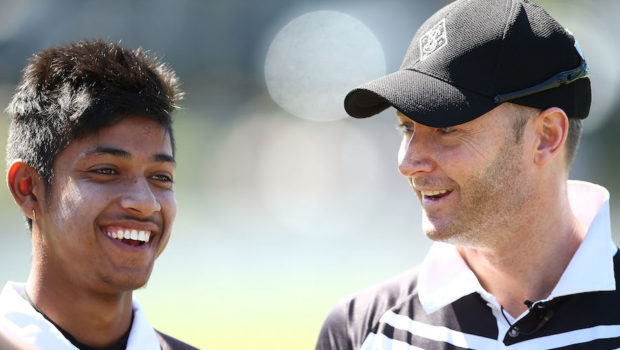 Michael Clarke and Sandeep Lamichhane speak to the media