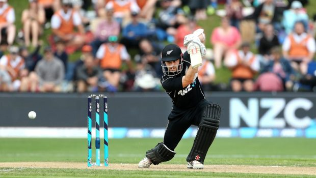 Kane Williamson of New Zealand bats during the third game of the One Day International