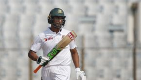 Bangladesh's captain Mahmudullah acknowledges the crowed after scoring fifty