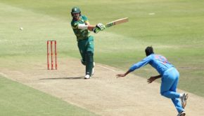 Faf du Plessis(c) of South Africa takes a swing