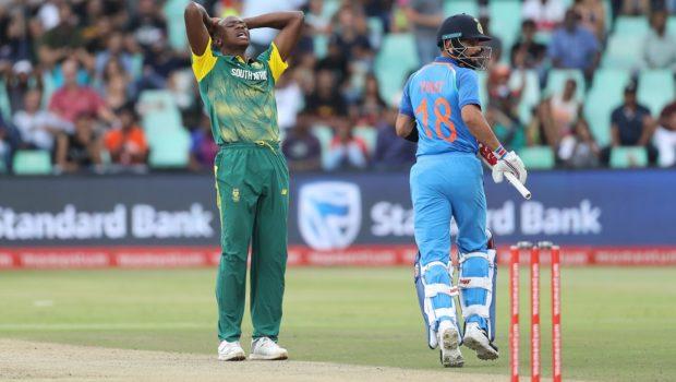 Kagiso Rabada of South Africa reacts