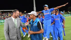 Captain Prithvi Shaw of India and his team mates celebrate