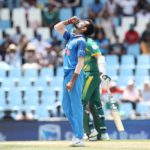 Yuzvendra Chahal of India celebrates the the wicket of Chris Morris of South Africa