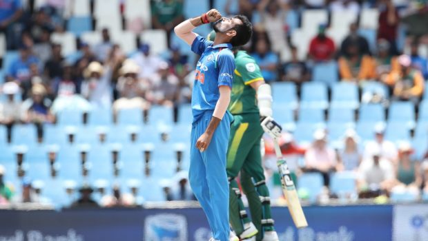 Yuzvendra Chahal of India celebrates the the wicket of Chris Morris