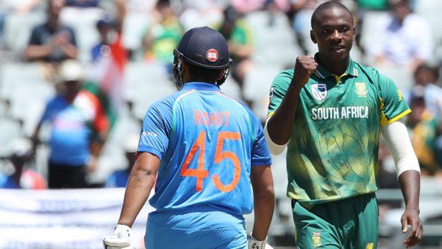 Kagiso Rabada of South Africa celebrates the the wicket of Rohit Sharma