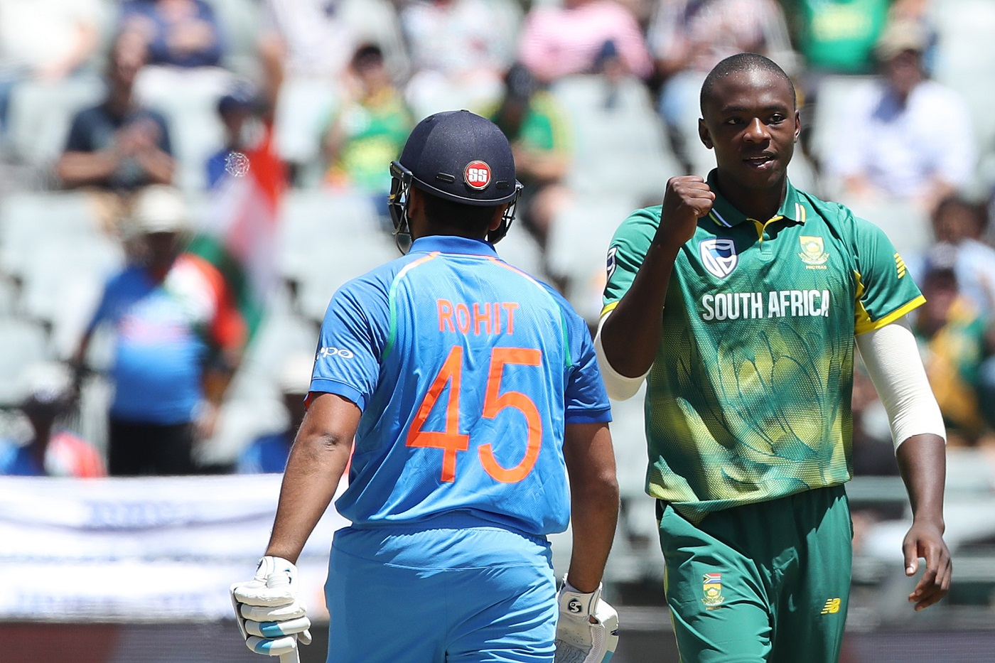 Kagiso Rabada of South Africa celebrates the the wicket of Rohit Sharma