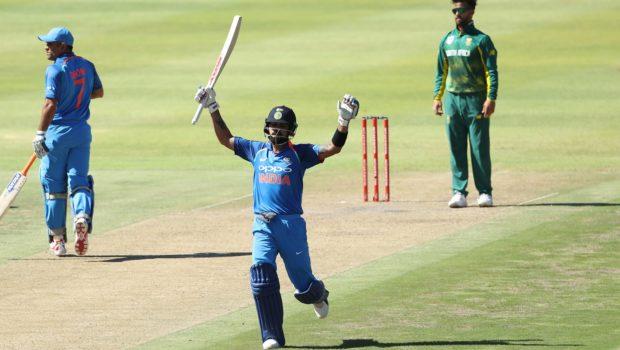 Virat Kohli (captain) of India celebrates his century