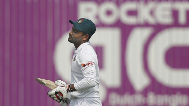 Bangladesh's Imrul Kayes reacts