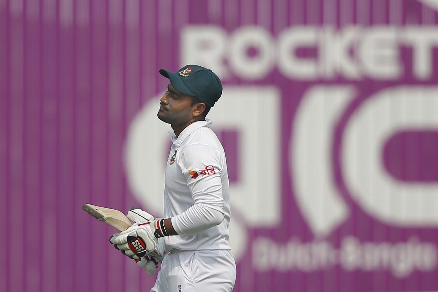 Bangladesh's Imrul Kayes reacts