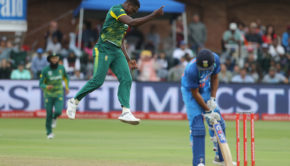South Africa's Kagiso Rabada celebrates after the dismissal of India's Shikhar Dhawan