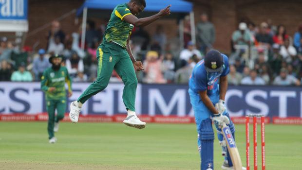 South Africa's Kagiso Rabada celebrates after the dismissal of India's Shikhar Dhawan