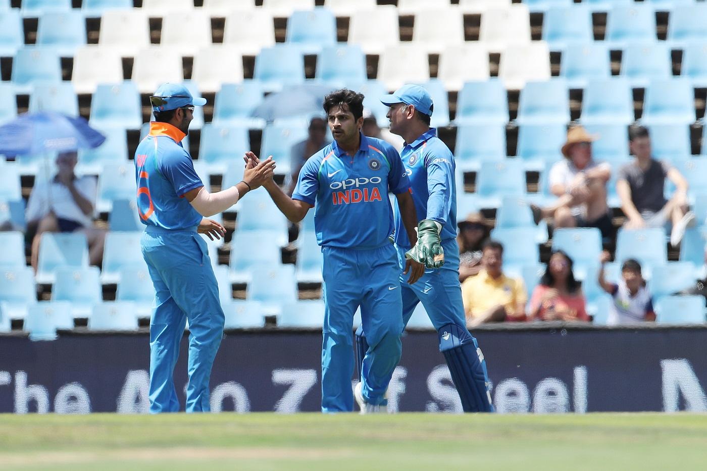 Shardul Thakur of India celebrates the the wicket of Hashim Amla