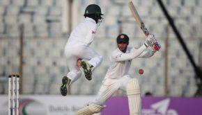 Sri Lanka's Dhananjaya de Silva plays a shot
