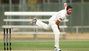 Chadd Sayers of the Redbacks bowls during the Sheffield Shield final between Victoria and South Australia