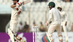 Glenn Maxwell of Australia bats during day three of the Second Test match between Bangladesh and Australia