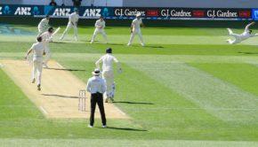 New Zealand captain Kane Williamson dives to catch England batsman Stuart Broad