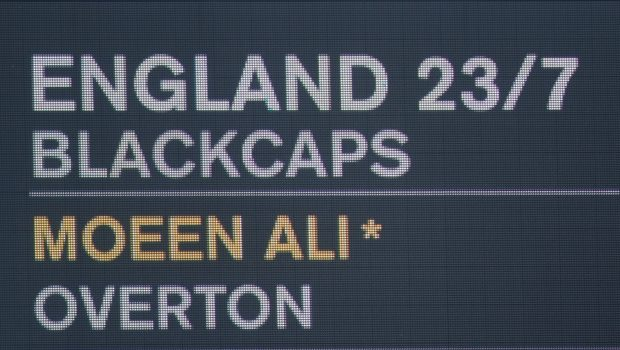 he scoreboard shows England at 23-7 during the First Test Match between the New Zealand Black Caps and England