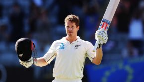 Henry Nicholls of the Black Caps celebrates after scoring a century